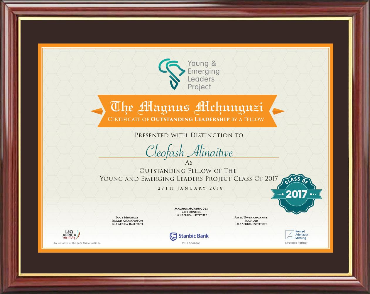 The Magnus Mchunguzi Certificate.